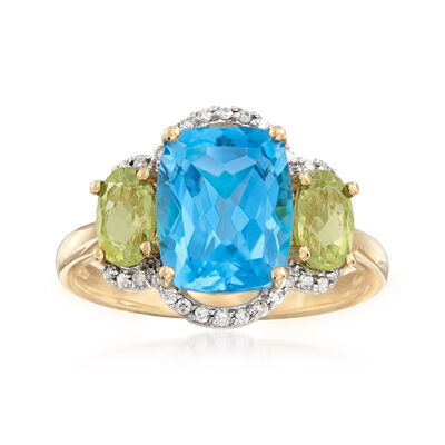 3.60 Carat Blue Topaz, .90 ct. t.w. Peridot and .11 ct. t.w. Diamond Ring in 14kt Yellow Gold, , default