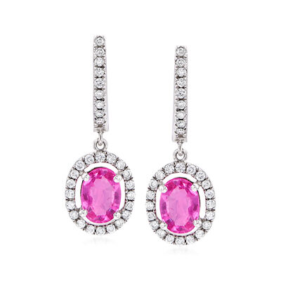 C. 1990 Vintage 1.70 ct. t.w. Pink Sapphire and .60 ct. t.w. Diamond Drop Earrings in 18kt White Gold