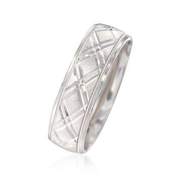 Men's 7mm 14kt White Gold Diamond-Cut Wedding Ring
