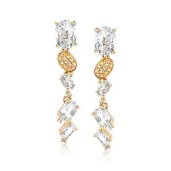 5.72 ct. t.w. White Topaz Drop Earrings With Diamond Accents in 14kt Yellow Gold, , default
