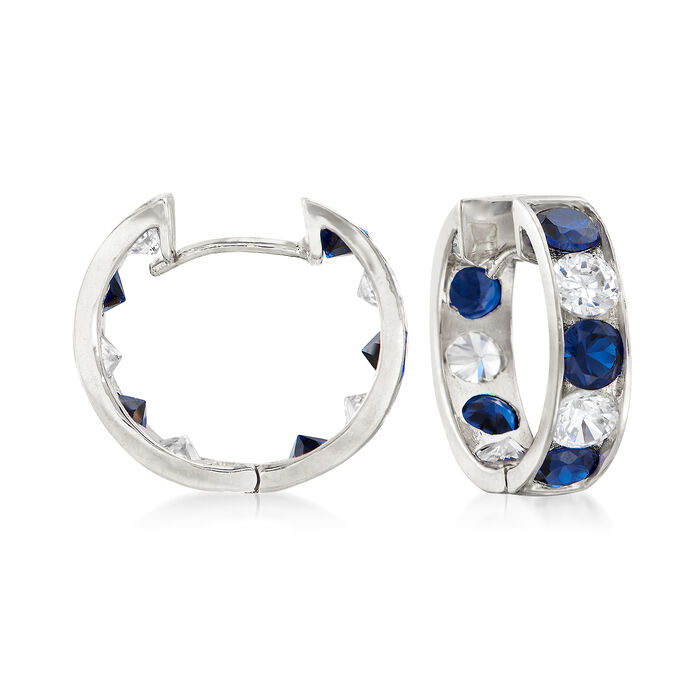 ".80 ct. t.w. Sapphire and .40 ct. t.w. Diamond Hoop Earrings in 14kt White Gold. 1/2"", , default"