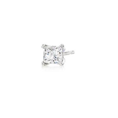 .12 Carat Princess-Cut Diamond Single Stud Earring in 14kt White Gold