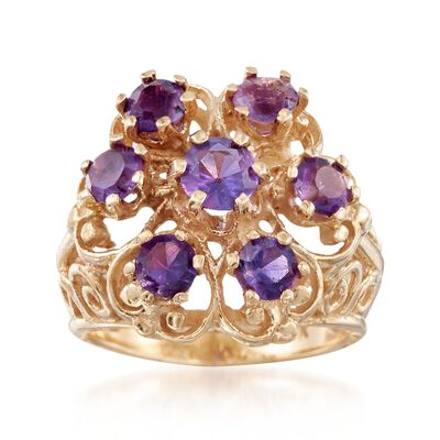 C. 1980 Vintage 1.40 ct. t.w. Amethyst Scrollwork Ring in 14kt Yellow Gold