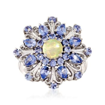 Opal and 1.60 ct. t.w. Tanzanite Ring in Sterling Silver, , default
