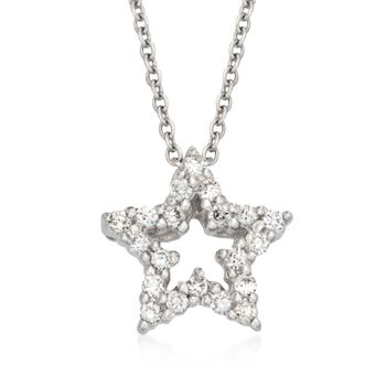 "Roberto Coin .10 ct. t.w. Tiny Treasure ""Star"" Diamond Necklace in 18kt White Gold. 18"", , default"