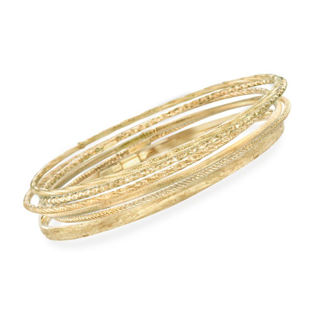 Italian 14kt Yellow Gold Multi Finish Jewelry Set Six Bangle Bracelets Default