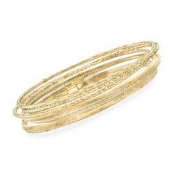 Italian 14kt Yellow Gold Multi-Finish Jewelry Set: Six Bangle Bracelets, , default