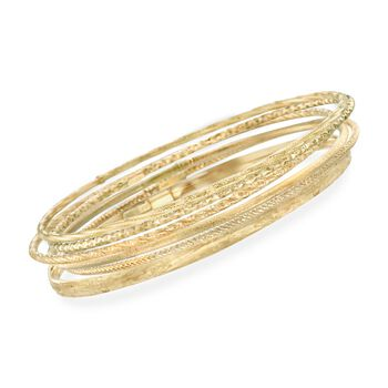 Italian 14kt Yellow Gold Multi-Finish Jewelry Set: Six Bangle Bracelets, , default