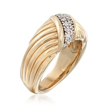 14kt Yellow Gold Sash Ring with Diamond Accents, , default
