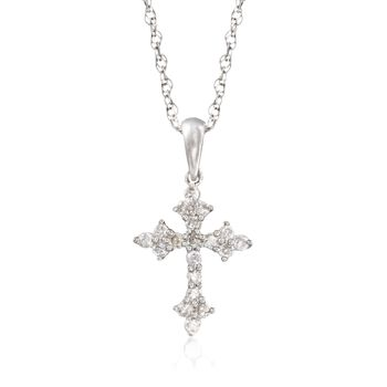 """.25 ct. t.w. Diamond Budded Cross Pendant Necklace in Sterling Silver. 18"""", , default"""