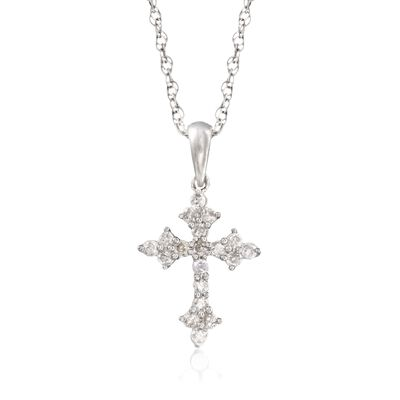 .25 ct. t.w. Diamond Budded Cross Pendant Necklace in Sterling Silver, , default