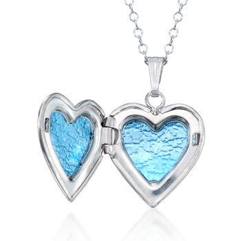 "Child's Sterling Silver Heart Locket Necklace. 15"", , default"