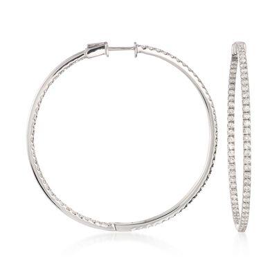 2.40 ct. t.w. Diamond Inside-Outside Hoop Earrings in 18kt White Gold, , default