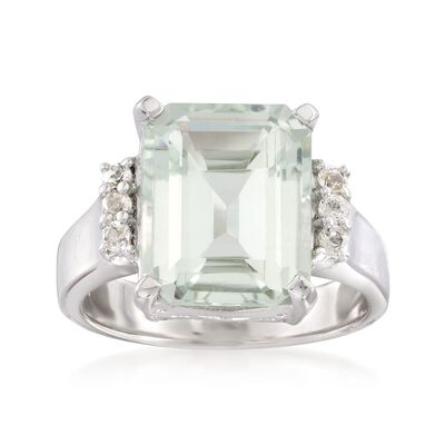 5.00 Carat Green Prasiolite and .10 ct. t.w. White Topaz Ring in Sterling Silver, , default