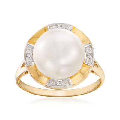 10.5-11mm Cultured Pearl Ring with Diamond Accents in 14kt Yellow Gold, , default