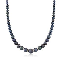 5-11.5mm Graduated Black Cultured Pearl Necklace With .24 ct. t.w. Diamonds and Sterling Silver, , default