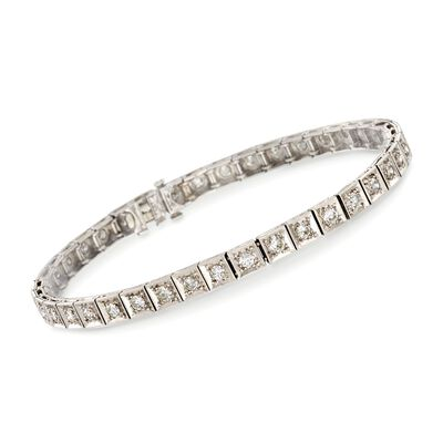 C. 1950 Vintage 2.00 ct. t.w. Diamond Tennis Bracelet in Platinum