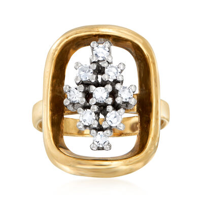 C. 1980 Vintage .30 ct. t.w. Diamond Open-Space Cluster Ring in 14kt Yellow Gold, , default