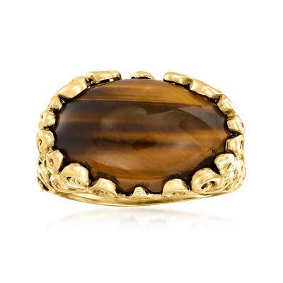 C. 1970 Vintage Tigereye Ring in 14kt Yellow Gold