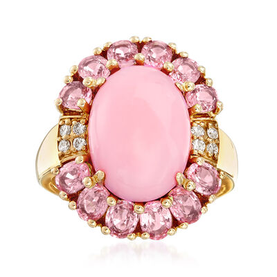 Pink Opal, 2.60 ct. t.w. Pink Sapphire and .10 ct. t.w. Diamond Ring in 14kt Yellow Gold, , default