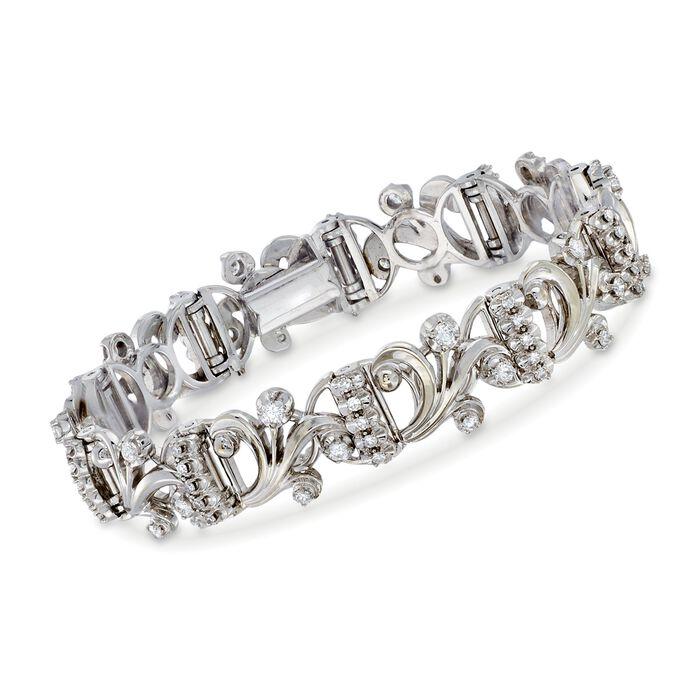 "C. 1980 Vintage 2.00 ct. t.w. Diamond Swirl Link Bracelet in 18kt White Gold. 6.5"""