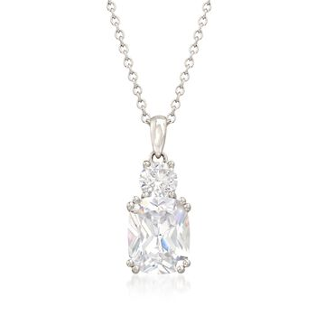 "4.50 ct. t.w. CZ Two-Stone Drop Pendant Necklace in Sterling Silver. 18"", , default"