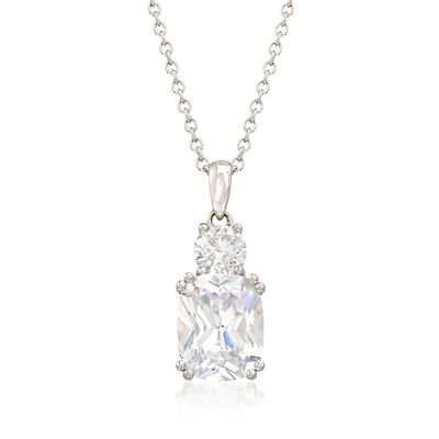 4.50 ct. t.w. CZ Two-Stone Drop Pendant Necklace in Sterling Silver, , default