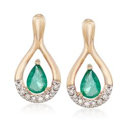 .90 ct. t.w. Emerald and .12 ct. t.w. Diamond Drop Earrings in 14kt Yellow Gold , , default