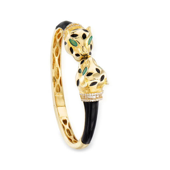 1.30 ct. t.w. White Zircon and .60 ct. t.w. Green Chrome Diopside Panther Bangle Bracelet in 18kt Gold Over Sterling with Black Enamel