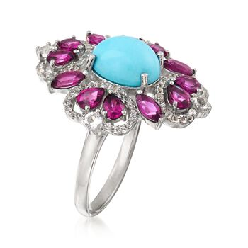 Turquoise and 2.50 ct. t.w. Multi-Stone Ring in Sterling Silver. Size 9, , default