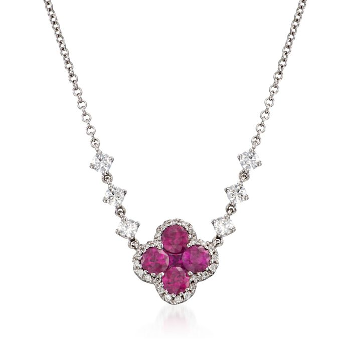 """Gregg Ruth .80 ct. t.w. Ruby and .35 ct. t.w. Diamond Floral Necklace in 18kt White Gold. 16"""", , default"""