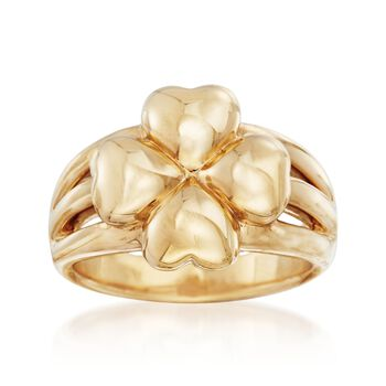 14kt Yellow Gold Four-Leaf Clover Ring, , default