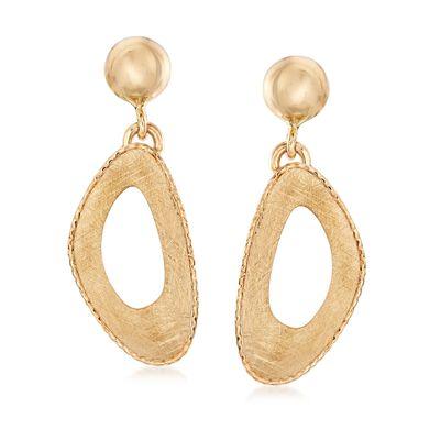 Italian 14kt Yellow Gold Free-Form Open-Space Drop Earrings, , default