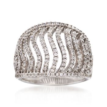 1.00 ct. t.w. CZ Wavy Ring in Sterling Silver, , default