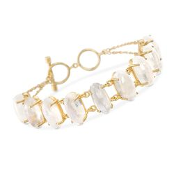 "Moonstone Toggle Bracelet in 18kt Gold Over Sterling. 7"", , default"