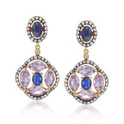 5.64 ct. t.w. Multi-Stone Drop Earrings in 18kt Gold Over Sterling , , default