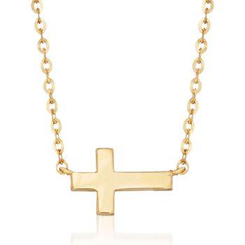 "18kt Yellow Gold Sideways Cross Necklace. 17.75"", , default"