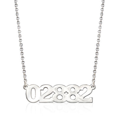 Personalized Sterling Silver Zip Code Necklace, , default