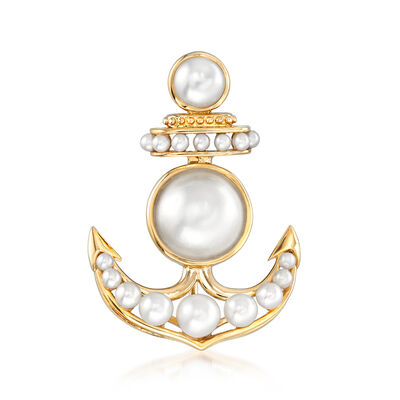 2-6mm Cultured Pearl and 11mm Cultured Mabe Pearl Anchor Pin in Sterling Silver and 18kt Gold Over Sterling, , default