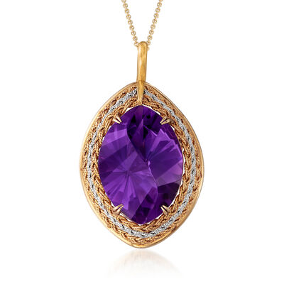 C. 1970 Vintage 24.37 Carat Amethyst Pin/Pendant Necklace in Platinum and 14kt Yellow Gold, , default