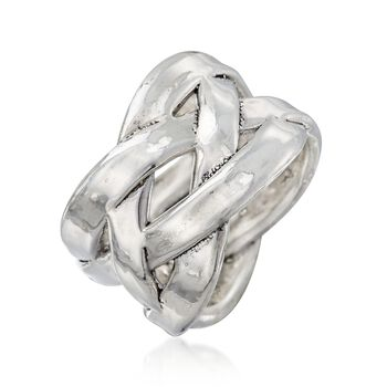 Sterling Silver Basketweave Ring, , default