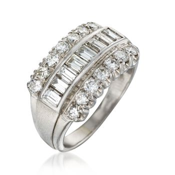 C. 1980 Vintage 1.85 ct. t.w. Diamond Ring in 14kt White Gold. Size 7, , default