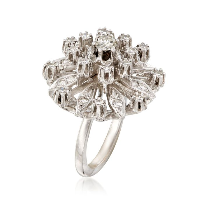 C. 1950 Vintage .95 ct. t.w. Diamond Cluster Ring in 14kt White Gold