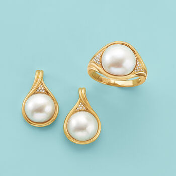 11-11.5mm Mabe Pearl Earrings in 14kt Yellow Gold with Diamond Accents