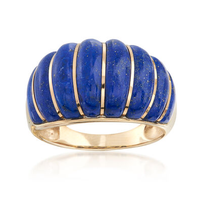 Carved Lapis Shrimp Ring in 14kt Yellow Gold, , default