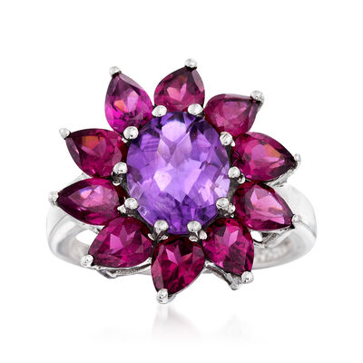 2.50 Carat Amethyst and 3.50 ct. t.w. Rhodolite Garnet Flower Ring in Sterling Silver