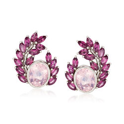 Rose Quartz and 5.70 ct. t.w. Rhodolite Garnet Earrings in Sterling Silver, , default
