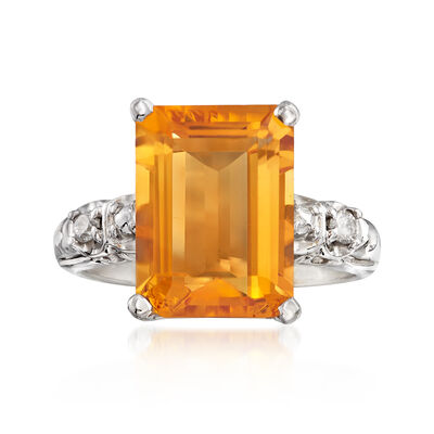 C. 1970 Vintage 5.60 Carat Citrine and .10 ct. t.w. Diamond Ring in 14kt White Gold, , default