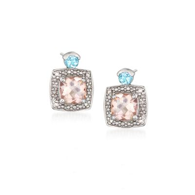 .60 ct. t.w. Morganite Earrings with Aquamarine and Diamond Accents in Sterling Silver, , default