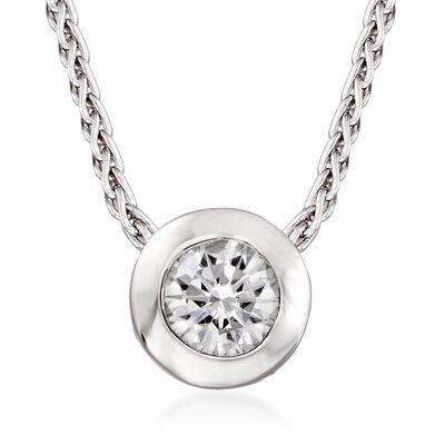C. 2000 Vintage .25 Carat Bezel-Set Diamond Necklace in 14kt White Gold